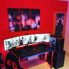 Triple monitors setup powerd by D-WAVE STREET (RED POWER) Skylake & Daul 980ti build By GusStreet - Pcpartpicker.com