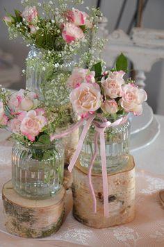 Hochzeit - Stammset Holz Vasen Hochzeit Vintage - ein Designerstück von majalino bei DaWanda