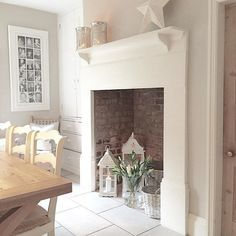 Excellent Pictures empty Fireplace Ideas Tips – farmhouse decor Empty Fireplace Ideas, Rustic Fireplace Decor, Rustic Fireplaces, Faux Fireplace, Fireplace Design, Decorative Fireplace, Dining Room Fireplace, Fireplace Decor Summer, Unused Fireplace