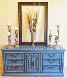 Vintage Sea Blue Dresser / Buffet / Media by BornAgainHomeAccents, $550.00