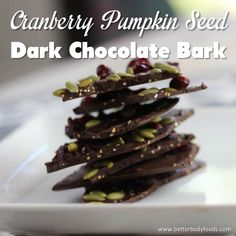 Cranberry Pumpkin Seed Dark Chocolate Bark Healthy dessert or snack using BetterBody Foods Chia, Quinoa, and Coconut Oil.