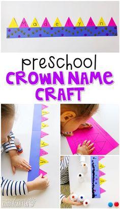 Preschool: Fairy Tales {Week - Name crown craft to help encourage name recognition and spelling. Preschool Names, Preschool Art Projects, Preschool Lesson Plans, Preschool Classroom, Preschool Activities, Summer Themes For Preschool, Nursery Rhymes Preschool, Fairy Tale Crafts, Fairy Tale Theme