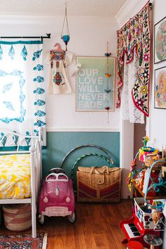 Textiles add color and vibrancy to a bedroom (and so easily found at thrift and garage sales)! #vintage #girlsroom #inspiration