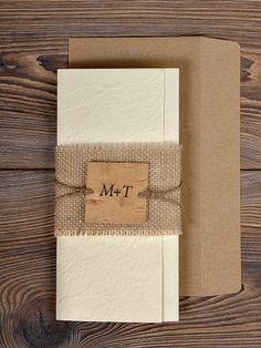 Natural Twine Wedding Invitation, Country Style  Wedding Invitations, Burlap Wedding Invitation, Lace Invitation, Rustic  Invitation Card