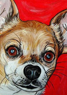 CHIHUAHUA dog art print fawn and white red bright by WOOFFactory, $7.0 #chihuahua dog art print fawn and white red bright by WOOFFactory, $7.00