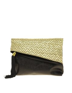 Asymmetrical fold over metallic jacquard & black leather clutch. Lovely & funky for a night out.