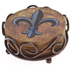 Thirstystone Cork Fleur de Lis Coasters in a Bronze Scroll Holder | Overstock.com Shopping - The Best Deals on Coasters