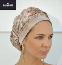 French Beret Brown Turban Hat Boho Hat Chemo Cap Chemo by RomHats