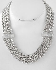 SILVER CRYSTAL MULTI ROW CHAIN NECKLACE SET