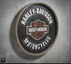 A cool vintage-inspired sign elevates any personal décor. | Harley-Davidson Barrel End Wooden Sign