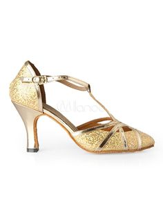 1920s Style Shoes -  Gold T-Strap Pointed Toe Sequined Cloth Woman's Latin Shoes $23.99  #1920s #shoes