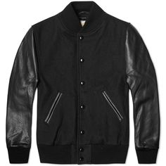 Golden Bear Sportswear Leather Sleeve Melton Wool Varsity Jacket (Black)