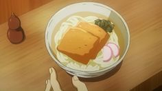 I'm not sure what's that square one on the top of the ramen. Probably deep fried tofu! - Tokyo Ghoul 07 #AnimeFood  https://www.facebook.com/DeliciousAnimeFood/