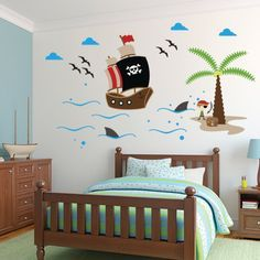 Pirates Wall Decal, Ship Wall Decal Wall sticker, Kids Wall sticker    Wall Decal that add charming touch to any baby nursery or play room.
