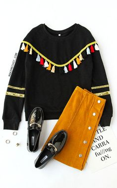 Black Tassel Trim Glitter Striped Sleeve Sweatshirt