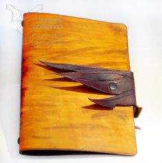 Leather cover for notebook. #leather, #wing, #cover, #notebook, #handmade, #leather carving, #yggr  leather workshop