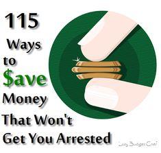 115 ways to save money, money saving tips