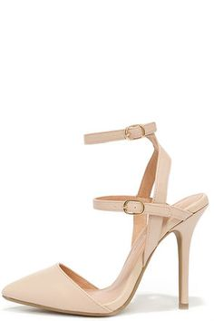 """A strappy pump that can go sweet OR spicy? It must be the Got It Made Natural Ankle Strap Pumps! Soft, blushing nude vegan leather shapes a pointed toe, plus two adjustable ankle straps with gold buckles. 4.25"""" wrapped stiletto heel. Cushioned insole. Nonskid rubber sole. Available in whole and half sizes. Measurements are for a size 6. All vegan friendly, man made materials. Imported."""