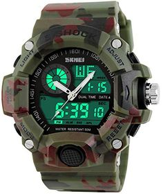 Bo Yi Multi Function Military Sshock Camouflage Green Sports Watch LED Digital Waterproof Alarm Watches >>> See this great product.Note:It is affiliate link to Amazon.
