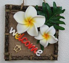 ハワイアン雑貨/インテリア パーツデザインフレーム(welcome small/プルメリア) 【ハワイ雑貨】【お土産】