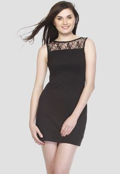 The Next Time You Hit The Floor, Do So In Style Wearing This Sexy Black  Dress From Gritstones. It Features A Beautiful Lace Overlay Around The  Neckline And ...