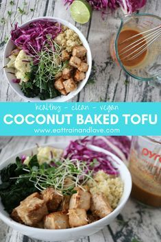 This coconut baked tofu is a delicious and easy way to pack in the protein. Tofu is full of healthy protein, for a sweet, satisfying meal that you can meal prep for the week or enjoy as a fast dinner. Click here for the recipe! Vegan recipes | vegetarian recipes | meal prep | clean eating | baked tofu | buddha bowls #coconuttofu #cleaneating #veganrecipes #buddhabowls