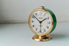 Alarm clock Vintage Green Gold Clock Slava Soviet Mechanical Desk clock Working Home decor Office decor by Retronom on Etsy