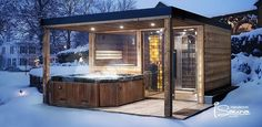 Garden Sauna With Shower And Jacuzzi Gartensauna mit Dusche und Whirlpool Hot Tub Pergola, Hot Tub Garden, Hot Tub Backyard, Backyard Pools, Pool Decks, Pool Landscaping, Pergola Roof, Sauna House, Sauna Room
