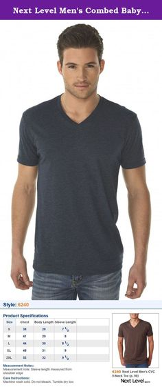 Next Level Men's Combed Baby Rib Knit V-Neck T-Shirt, Midnight Navy, Large. 4.3 oz, 60% combed ring-spun cotton/40% polyester jersey 32 singles Fabric laundered Set-in 1x1 CVC baby rib collar Tear Away label Sizes: S - 2X .