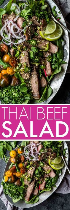 30-Minute Thai Beef Salad is tangy, spicy, amazingly delicious yet deceptively easy to make. Topped with toasted rice powder for a bit of crunch. It's a healthy salad that tastes so decadent! #thaifood #thaisalad #thaibeefsalad #saladrecipe #healthy #healthyrecipe via @platingspairing