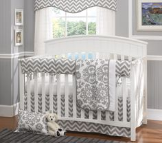 Gray Chevron Bumperless Baby Bedding- our most popular collection! Chevron Minky Blanket also available. Find it all at www.lizandroo.com!