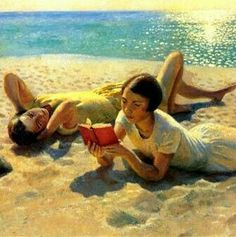 'Reading by the Shore' - Harold Harvey.