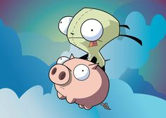 Gir riding on his pig - Invader Zim