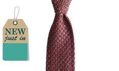 Augustus Hare - Zola - Wine and grey silk knitted tie – Joe's Store