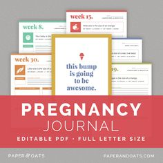 Free printable pregnancy journal all things baby pinterest pregnancy journal paper oats editable digital week by week maternity diary pronofoot35fo Gallery