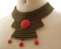 Handmade Metal Zipper Necklace Half Circle Shaped by ChicTime