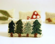 Pine Tree Miniature Balsam Fir Sachet. Punchneedle Embroidery. Forest Green, Cream, Brown. Dollhouse Pillow, Cottage or Home Decor for Her.