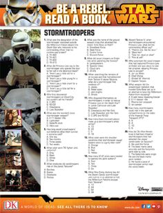 Star Wars Stormtrooper Quiz: Interactive quiz with printable version. Activity Sheets For Kids, Star Wars Party, Books To Read, Improve Yourself, Knowledge, Printable, Activities, Stars, Reading