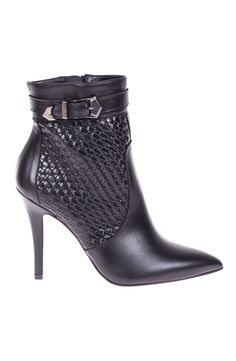 Roberto Botella - Strap Buckled Pointed Booties in Black