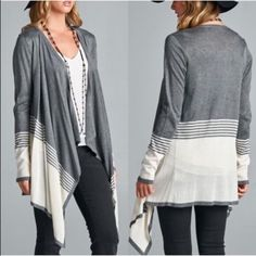 The JOVELLE color block cardigan - DARK GREY COLOR BLOCK OPEN FRONT CARDIGAN 100% VISCOSE. AVAILABLE DARK GREYNO TRADE non  Slouchy, oversized Sweaters Cardigans