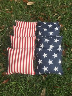 Set of Cornhole Bags, 4 stars & 4 Stripes. Add a little Patriotism to your yard games! These ACA/ACO compliant corn bags are the perfect addition Patriotic Party, 4th Of July Party, Fourth Of July, Patriotic Crafts, Cornhole Set, Cornhole Boards, Diy Cornhole Bags, Picnic Activities, Cornhole Designs
