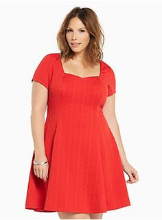 "<div>Caution: major curves ahead! This dress was made to love you with a va-va voom, cable-inspired, red-hot textured knit that's boosted by figure-flattering fluted seams. A sweetheart neckline walks a very flirty line, while cap sleeves lends coverage.</div><div><br></div><div><b>Model is 5'9.5"", size 1 </b></div><div><ul><li style=""LIST-STYLE-POSITION: outside !important; LIST-STYLE-TYPE: disc !important"">Size 1 measures 38 3/4"" from shoulder</li><li style=""LIST-STYLE-POS..."