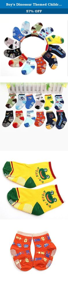 Boy's Dinosaur Themed Children Boy Sport Crew Socks Cartoon Dinosaur Pattern Socks. Product Basic Information: ** Materail: 95% cotton, 5% spandex **Size: Foot Size: 4.8-6 inch , Suitable for baby are 0-3years ** Gender: Baby Toddler Socks **Packages of 12 pack socks ** Perfect gift ideas: Send these cute socks to show your love to your baby Product Features: ** These socks have the entire bottom covered. get around without slipping; ** The socks have a significant amount ofanti-slip...