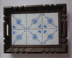 Vtg Mexican Pottery Tile Wood Tray Blue Flowers White Serving Mexico Hand Carved