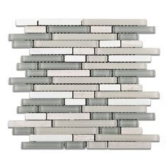 Midtown Tempest Stone and Glass Mix Random Strip Blend Mosaic Tile - Guest bathroom shower niche accent tile