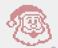 Christmas embroidery cross-stitch with santa claus happy face. merry christmas greeting ca premium Cross Stitch Christmas Cards, Santa Cross Stitch, Christmas Cross, Christmas Tree, Easy Cross Stitch Patterns, Simple Cross Stitch, Christmas Knitting Patterns, Christmas Embroidery, Hand Embroidery Patterns