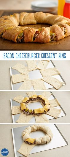 We have officially found something better than any old burger – a Bacon Cheeseburger Crescent Ring! Simply wrap crescent dough around your favorite burger ingredients and dinner is served. - Pretty good and really easy to make - great party food. I Love Food, Good Food, Yummy Food, Tasty, Crescent Dough, Crescent Ring, Crescent Rolls, Beef Recipes, Cooking Recipes