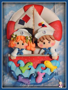 Marineros a la mar! - Addis Fuentes - My world of art crafts Foam Crafts, Diy And Crafts, Arts And Crafts, Sailor Theme, Chocolate Diy, Class Decoration, Name Banners, Baby Scrapbook, Creative Crafts