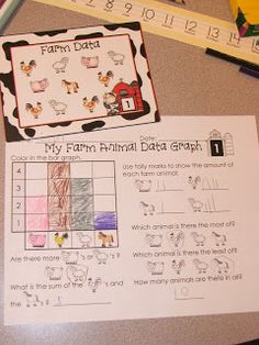 Freebie   farm, graphs, prek, kindergarten, math