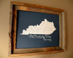 My Old Kentucky Home 11x14 Blue Map Print